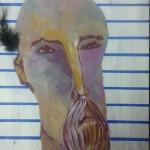 """Obra """"Señor con pluma"""" Maite Arriaga colección 2015"""
