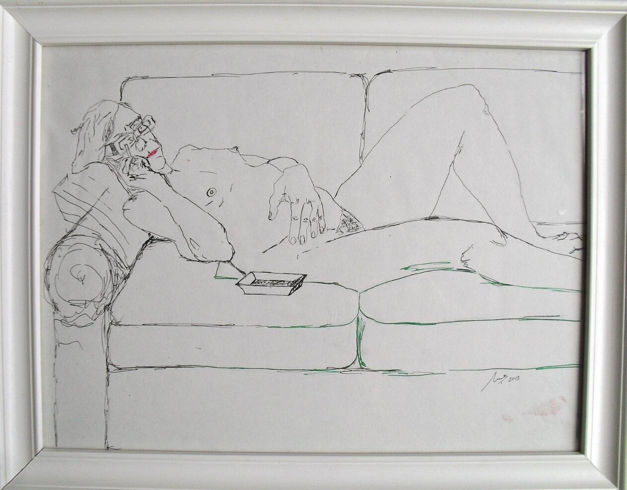 En el sofá - Cuadro en venta Artista Maite Arriaga