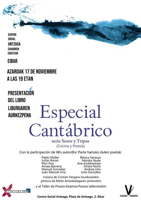 Cartel Presentación del libro Especial Cantábrico, Maite Arriaga