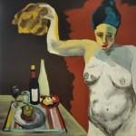 Nombre cuadro LA DIETA - témpera sobre tela - artista MAITE ARRIAGA